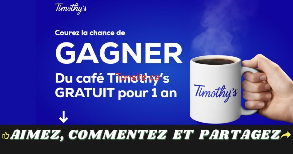 timothys concours - Gagnez du café Timothy's GRATUIT pour 1 an (50 gagnants)