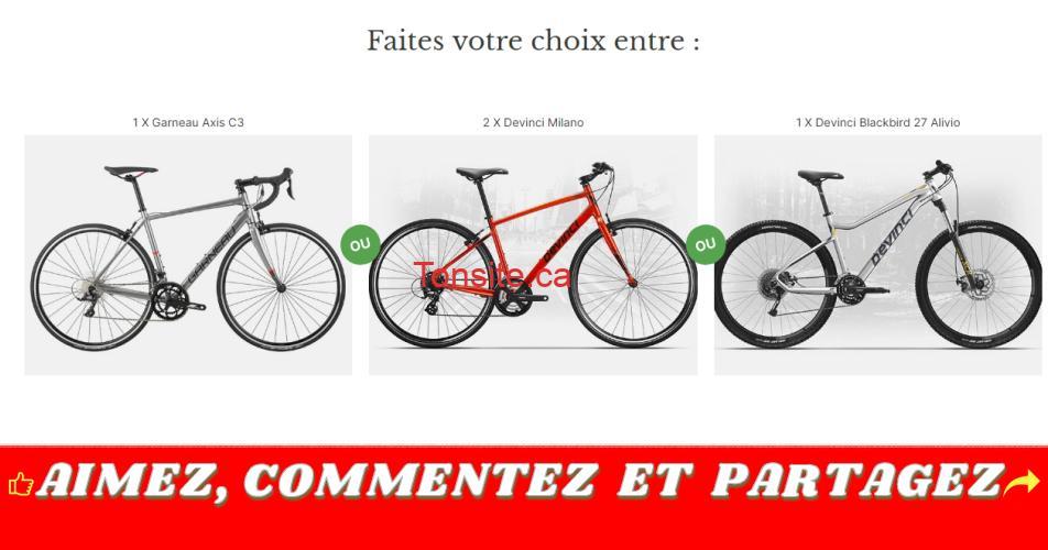 velos concours - Gagnez un vélo tout terrain, un vélo de route ou un ensemble de 2 vélos hybrides