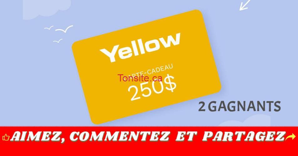 yellow concours250 - Gagnez 1 des 2 cartes-cadeaux Yellow de 250$ chacune