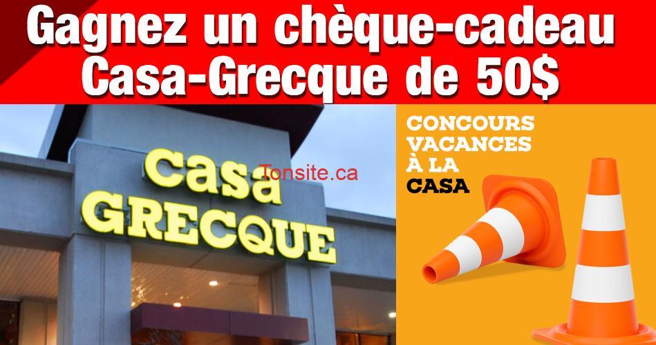 casa grecque concours - Gagnez un chèque-cadeau de 50$ chez Casa Grecque.