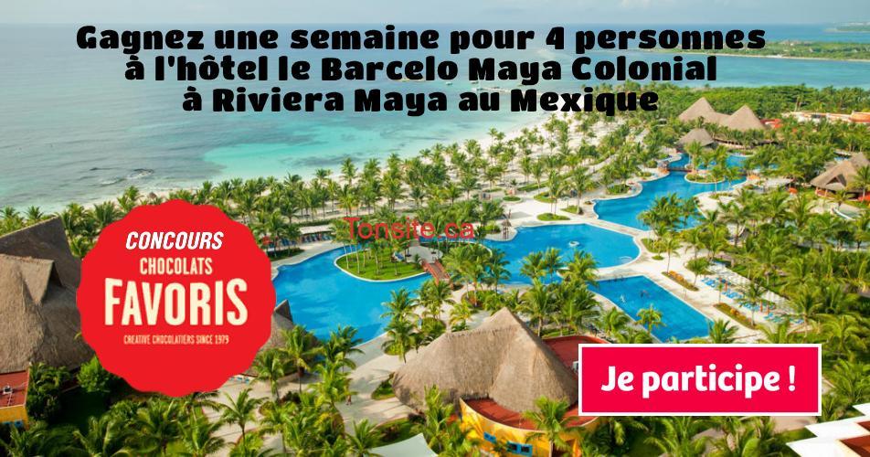 chocolats favoris concours - Gagnez une semaine pour 4 personnes à l'hôtel le Barcelo Maya Colonial à Riviera Maya au Mexique