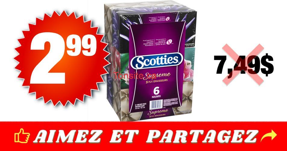 scotties 299 749 - Emballage de 6 boîtes de papier mouchoirs Scotties à 2,99$ au lieu de 7,49$