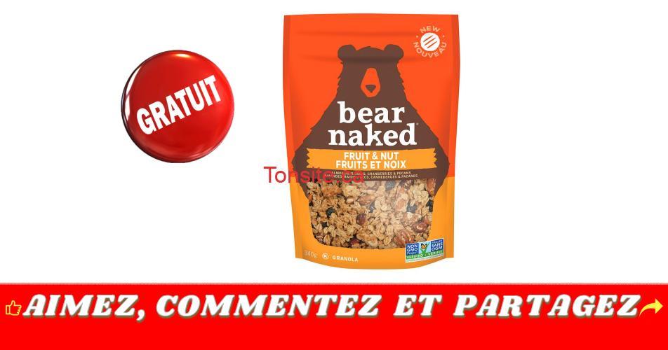 bear naked gratuit - Obtenez un coupon de gratuité pour un produit Bear Naked Granola (340 g)
