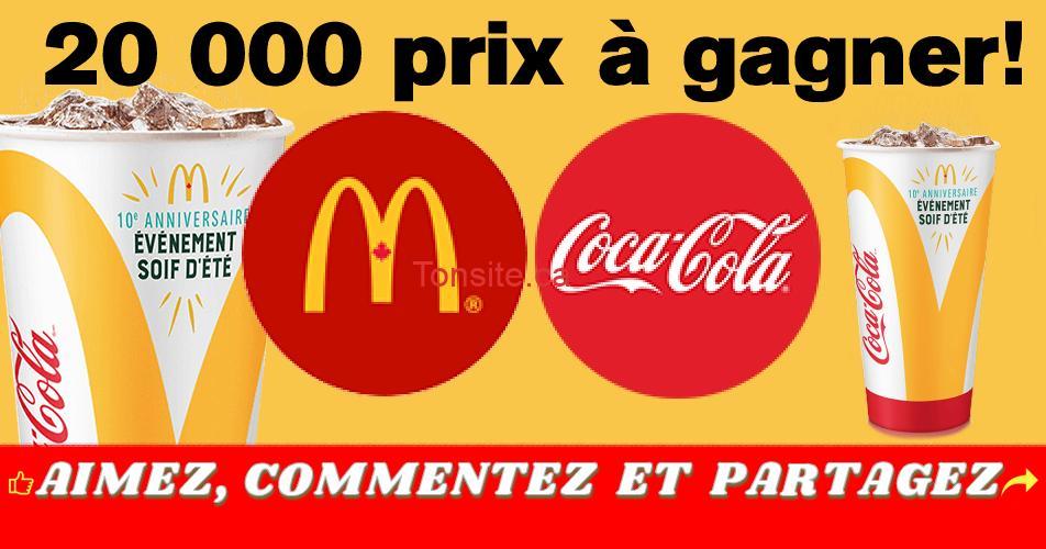 mcdo coca concours - 20.000 prix à gagner avec Mc Donald's et Coca-Cola
