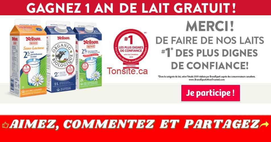 neilson concours - Gagnez 1 an de lait Neilson GRATUIT (5 gagnants)