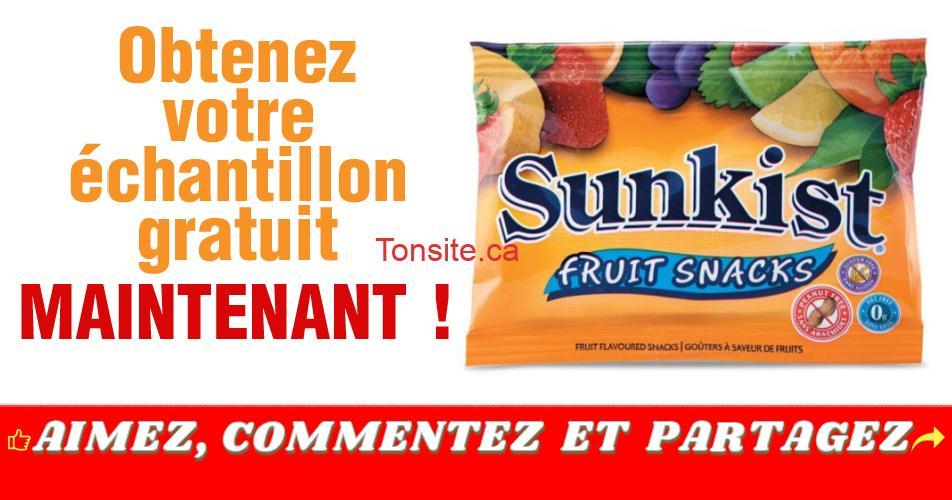 sunkist gratuit - Obtenez un échantillon gratuit d'un goûter à saveur de fruits Sunkist de Ganong