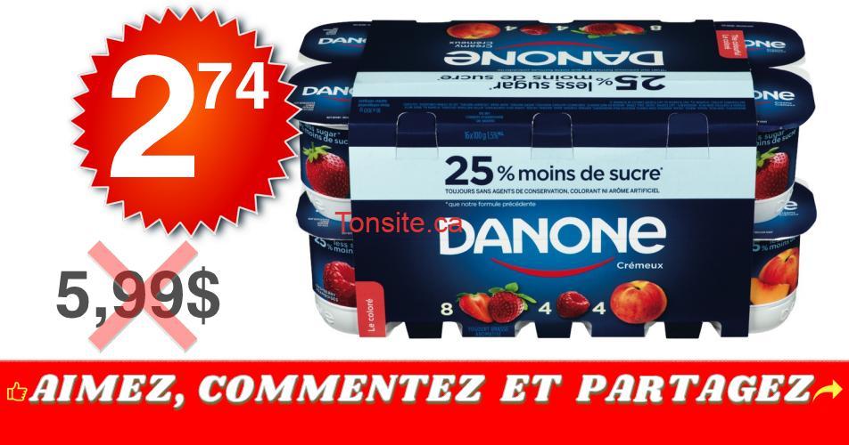danone 274 599 - Emballage de 16 pots de Yogourt Danone crémeux à 2,74$ au lieu de 5,99$