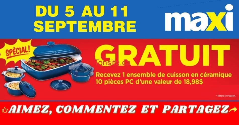 ensemble cuisson maxi - Maxi: Obtenez GRATUITEMENT 1 ensemble de cuisson en céramique 10 pièces PC d'une valeur de 18.98$