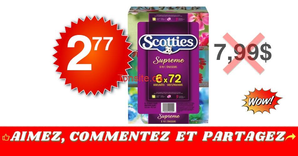 scotties 277 799 - Emballage de 6 boîtes de papier mouchoirs Scotties à 2,77$ au lieu de 7,99$