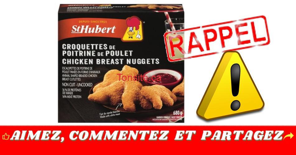 st hubert croquettes rappel - Rappel de Croquettes de poitrine de poulet de marque St-Hubert en raison de la présence de fragments d'os