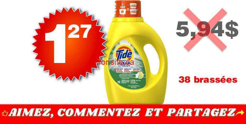 tide simply clean 127 594 - Détergent à lessive Tide Simply Clean & Fresh (38 brassées) à 1,27$ au lieu de 5,94$