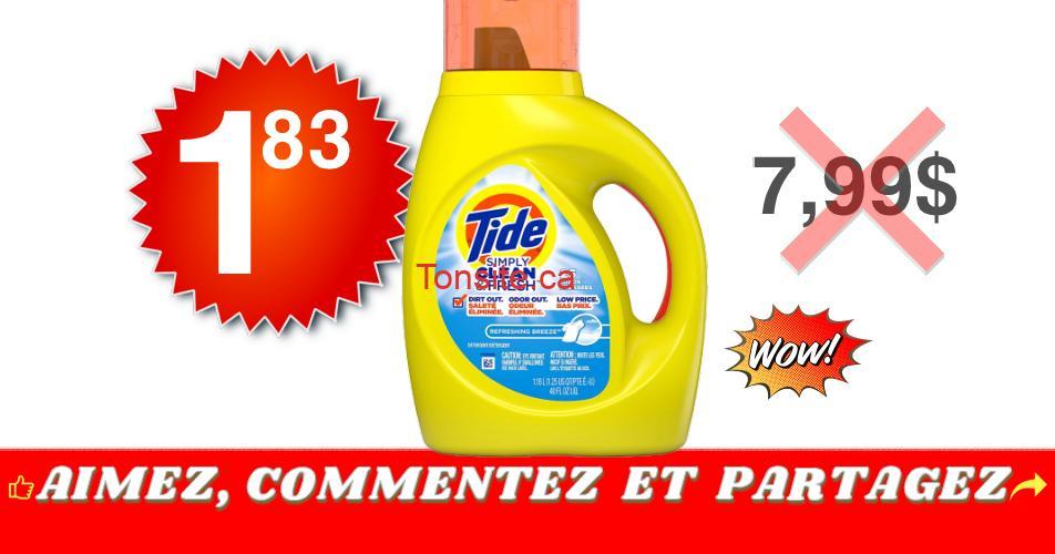 Tide simply 183 799 - Détergent à lessive Tide Simply Clean & Fresh à 1,83$ au lieu de 7,99$