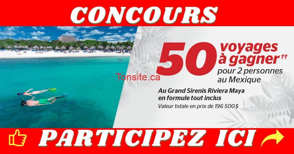 brault martineau concours 50 voyages - 50 voyages à gagner pour 2 personnes au Mexique au Grand Sirenis Riviera Maya en formule tout inclus