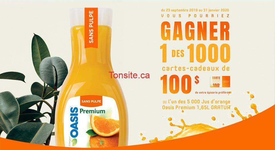 oasis premium home fr - Concours Oasis: Gagnez 1 des 1000 cartes-cadeaux de 100$