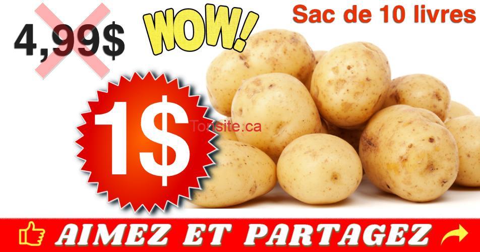 pommes de terre 1 dollar - Sac de pommes de terre (10 livres) à 1$ au lieu de 4,99$