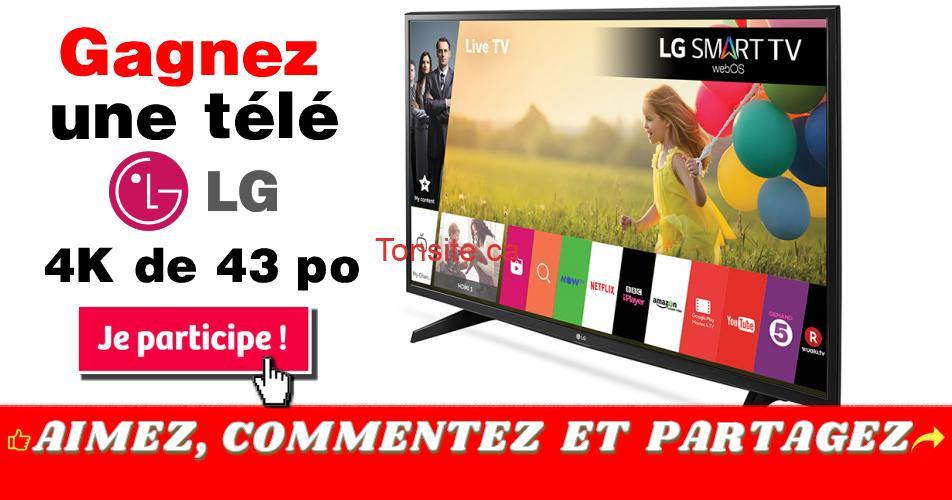 tv lg concours - Participez et gagnez une télé LG 4K de 43 po