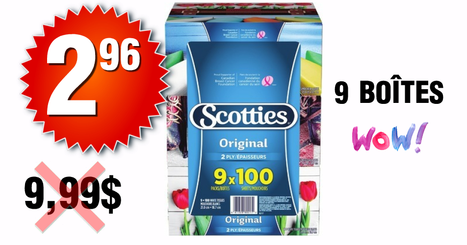 Scotties 9 296 999 - Emballage de 9 boîtes de papier mouchoir Scotties à 2,96$ au lieu de 9,99$