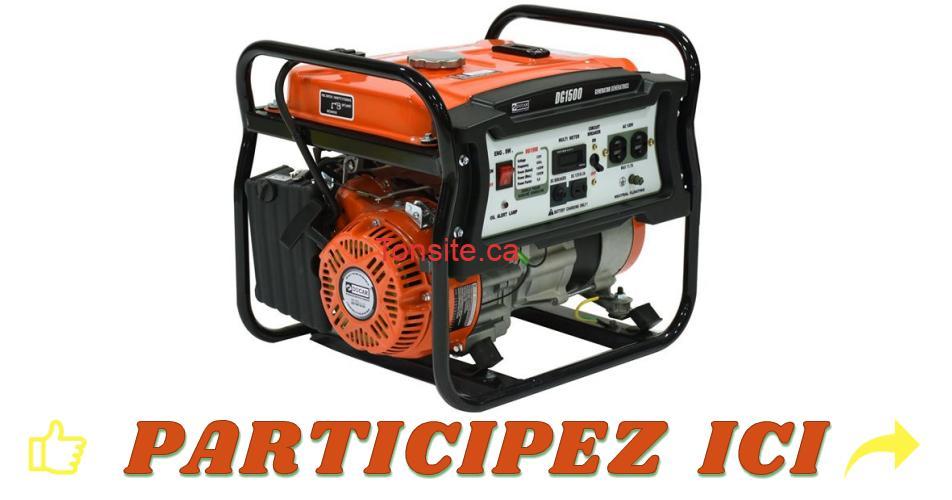 genneratrice concours - Gagnez une génératrice Ducar 1500 watts d'une valeur de 425$!