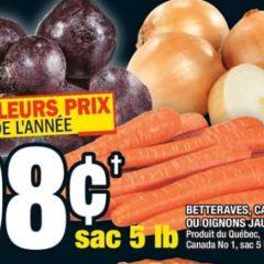 legumes 98 240x240 - Betteraves, Carottes ou Oignons jaunes (5 lb) à 98¢ seulement!