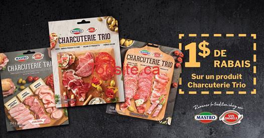 mastro coupon 1 - Coupon rabais de 1$ sur un emballage de charcuterie Trio de Mastro et San Daniele