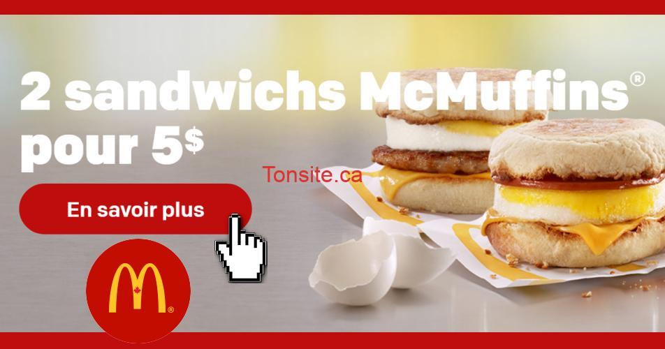 mcmuffins 5 - Mc Donald's: 2 sandwichs McMuffins pour 5$ seulement!