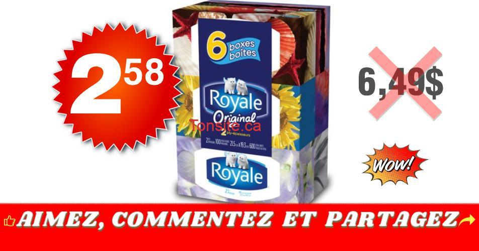 royale 258 649 - Emballage de 6 boîtes de papier mouchoirs Royale à 2,58$ au lieu de 6,49$