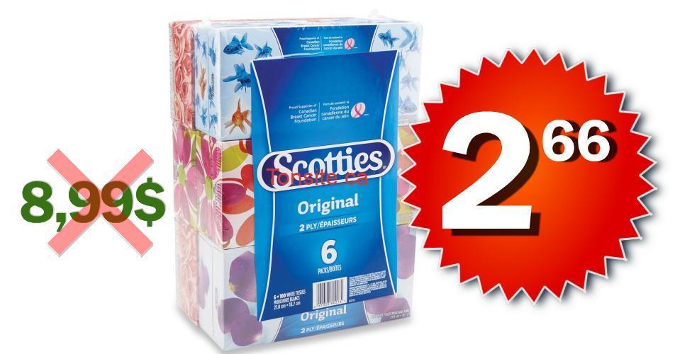 scotties 266 899 - Emballage de 6 boîtes de papier mouchoir Scotties à 2,66$ au lieu de 8,99$