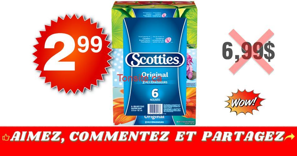 scotties 299 699 - Emballage de 6 boîtes de papiers-mouchoirs Scotties à 2,99$ au lieu de 6,99$
