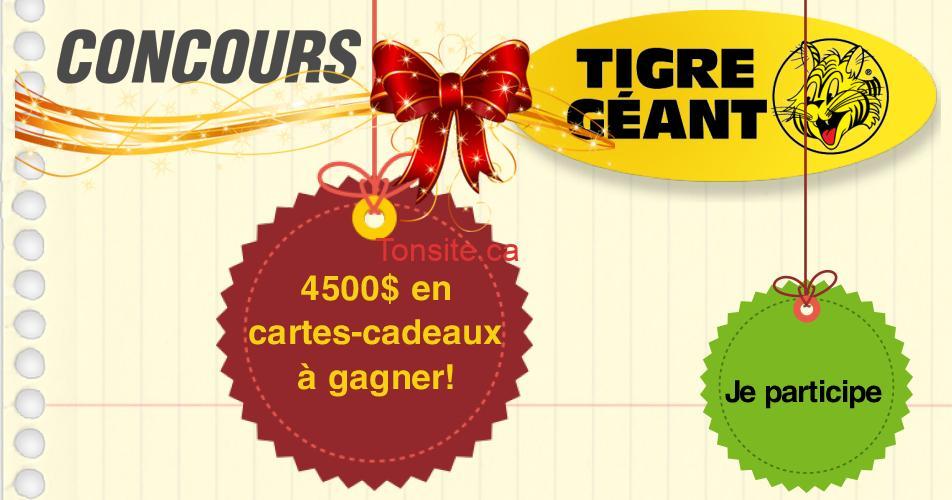 tigre geant concours2019 - Concours Tigre Géant: 4500$ en cartes-cadeaux à gagner!