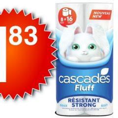 cascades-183-officiel-240x240 Emballage De 8 Rouleaux Doubles De Papier Hygiénique Cascades Fluff À 2.33$ Au Lieu De 6,99$