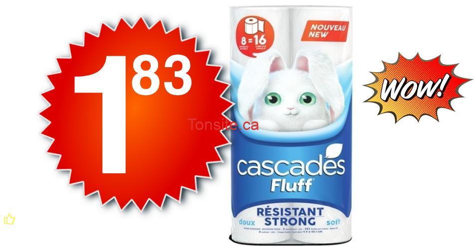 cascades 183 officiel - Emballage De 8 Rouleaux Doubles De Papier Hygiénique Cascades Fluff À 1,83$ Au Lieu De 6,99$