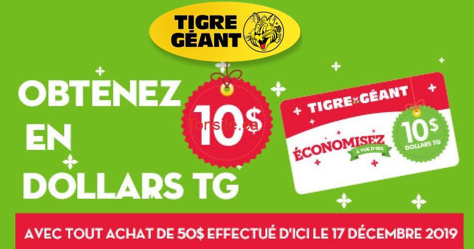 tigre geant 10 - Tigre Géant: Obtenez 10$ en dollars TG sur tout achat de 50$