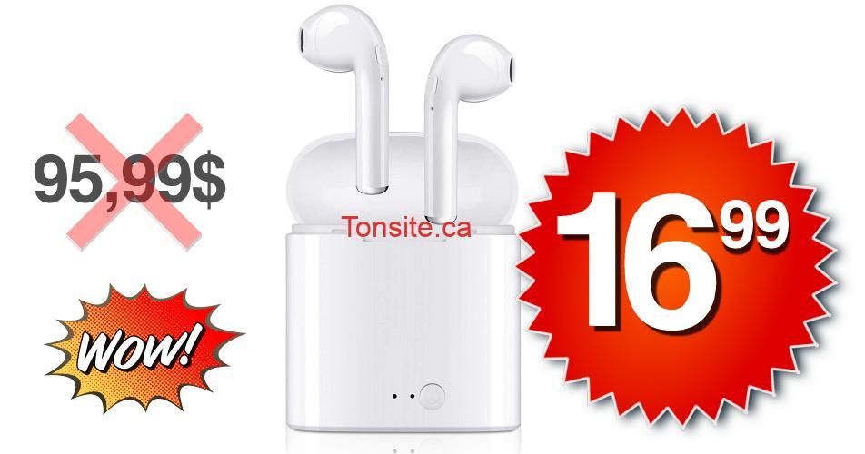 ecouteurs 1699 9599 - Écouteurs intra-auriculaires avec microphone sans fil à 16,99$ au lieu de 95,99$ (livraison gratuite)