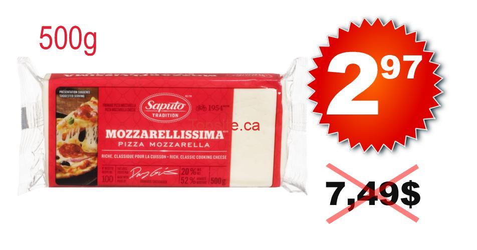 mozzarellissima 297 749 - Barre de fromage Mozzarellissima Saputo (500 g) à 2,97$ au lieu de 7,49$