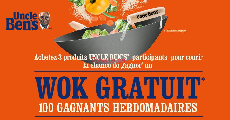 uncle bens wok concours - Concours Uncle Ben's: Gagnez un wok gratuit (100 gagnants hebdomadaires)