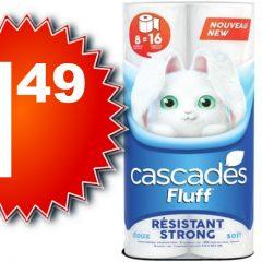 cascades 149 240x240 - Emballage de 8 rouleux doubles de papier hygiénique Cascades à 1,49$ au lieu de 4,49$