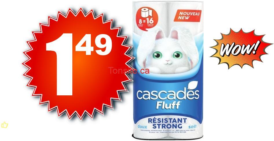 cascades 149 - Emballage de 8 rouleux doubles de papier hygiénique Cascades à 1,49$ au lieu de 4,49$