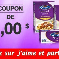 catelli coupon 240x240 - Coupon rabais de 1$ sur les pâtes Catelli Smart