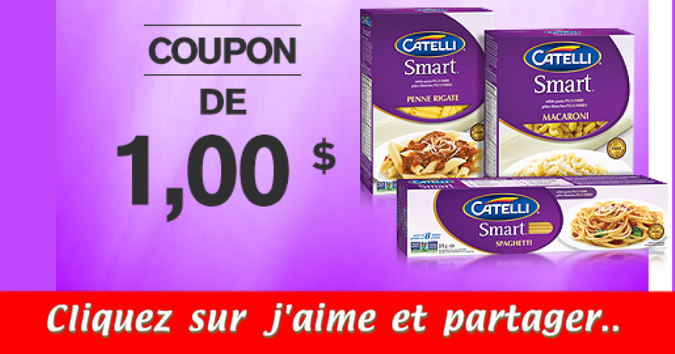 catelli coupon - Coupon rabais de 1$ sur les pâtes Catelli Smart