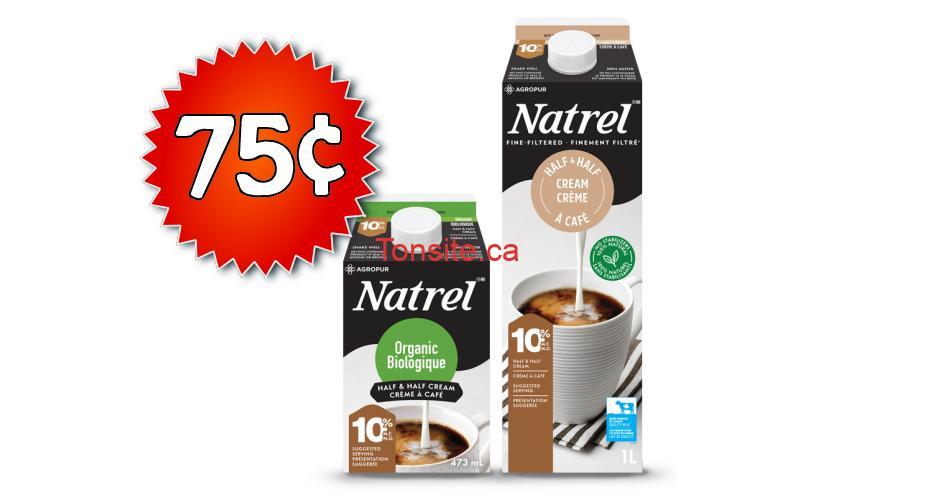 natrel 75 - Coupon rabais de 75¢ sur une crème Natrel finement filtrée ou biologique
