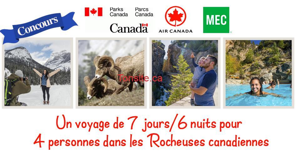 parcs canada concours - Gagnez un voyage de 7 jours / 6 nuits pour 4 personnes dans les Rocheuses canadiennes