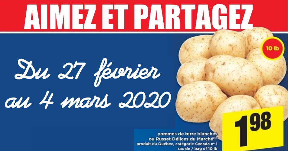pommes de terre1 - Sac de pommes de terre (10 livres) à 1,98$ au lieu de 4,99$
