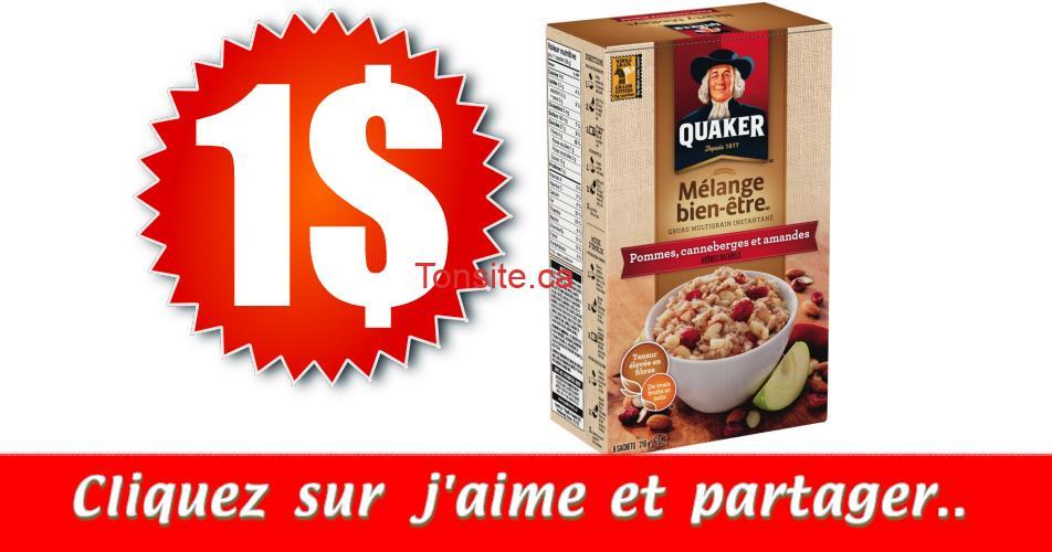 quaker1 3.49 - Gruau instantané Quaker à 1$ au lieu de 4.49$