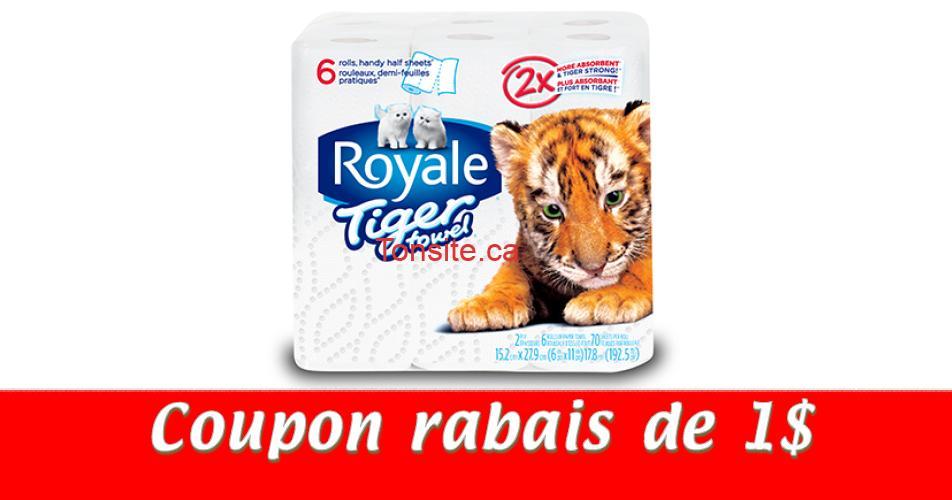 royale tiger towel coupon1 - Coupon rabais de 1$ sur tout produit Royale Tiger Towel