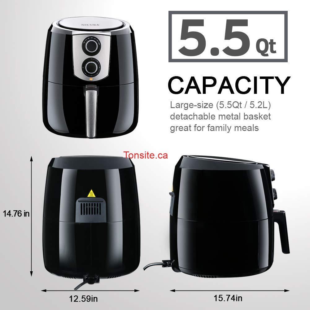 61BF5meqT3L. AC SL1001  - Friteuse à air chaud sans huile Extra large 5.2L Secura à 69,99$ au lieu de 129,99$
