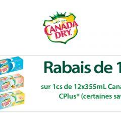 canadadry cplus 150 240x240 - Coupon rabais de 1,50$ sur 1 caisse de Canada Dry ou CPlus de 12x335mL