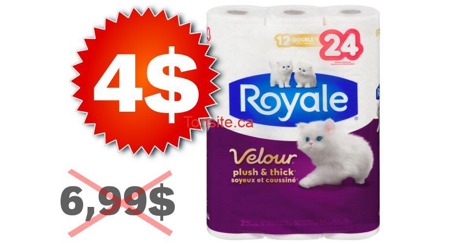 royale velour 4 699 - Papier hygiénique Royale Velour (12=24 rouleaux) à 4$ au lieu de 6,99$