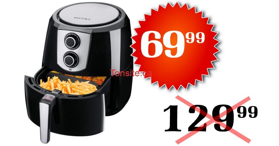 secura 6999 12999 - Friteuse à air chaud sans huile Extra large 5.2L Secura à 69,99$ au lieu de 129,99$