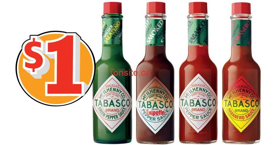 tabasco 1 - Coupon rabais de 1$ sur tout produit Tabasco
