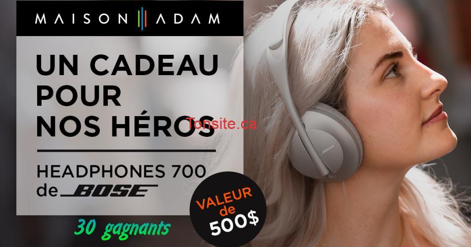 bose concours - Gagnez un casque d'écoute Headphones 700 de BOSE (1 gagnant par jour pendant 1 mois)